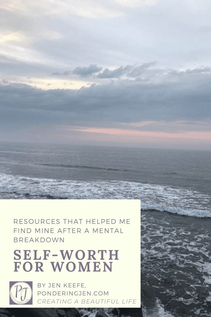 self-worth for women resources image of ocean with title of piece