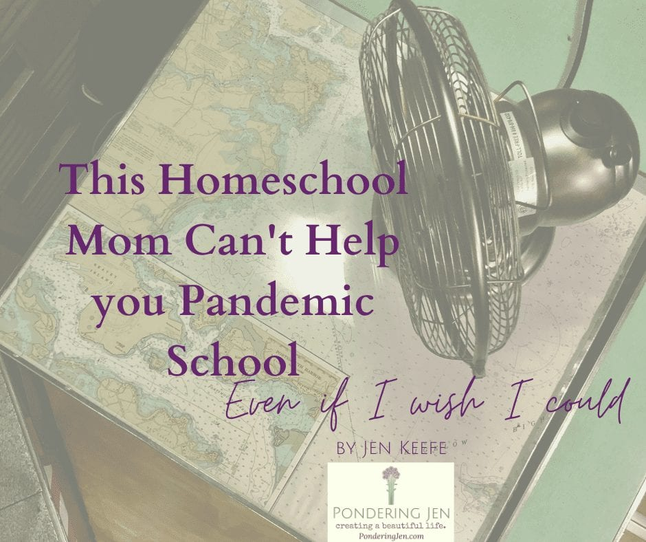 This homeschool mom can't help you pandemic school over map and fan