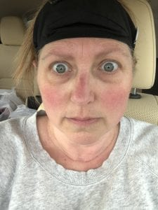 picture of frazzled woman wearing mask