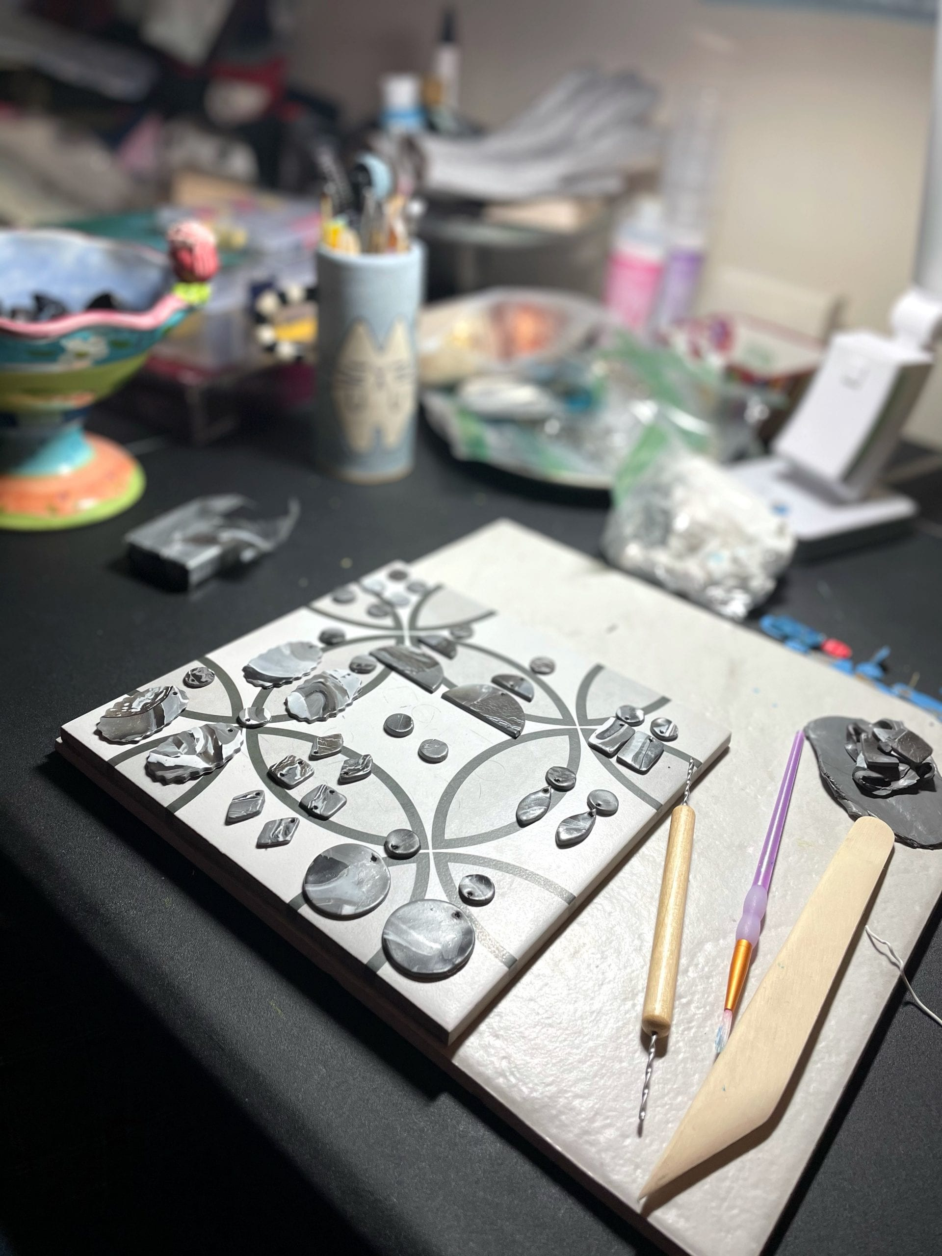 image of jewelry in progress. One of the things I do now instead of research recipes for diet culture.