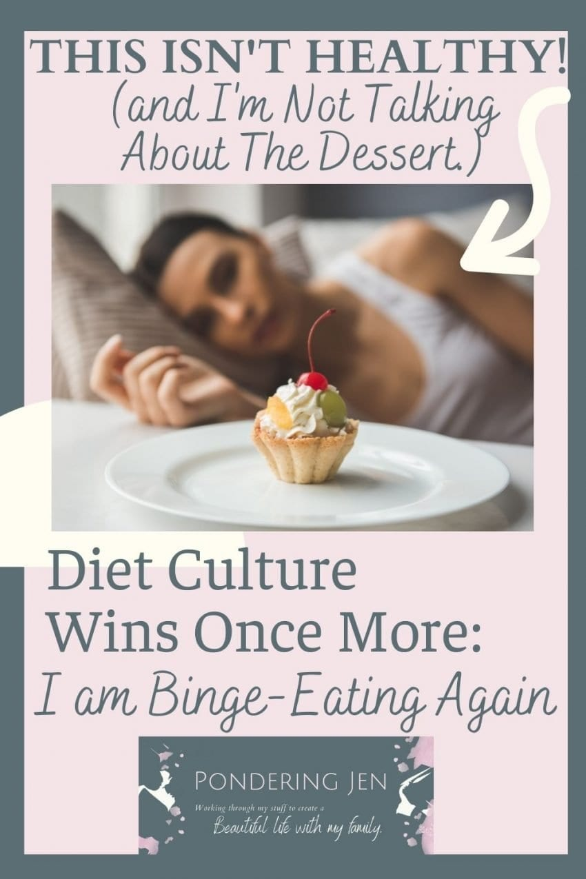 image of woman looking longingly at dessert with text Diet Culture wins once more