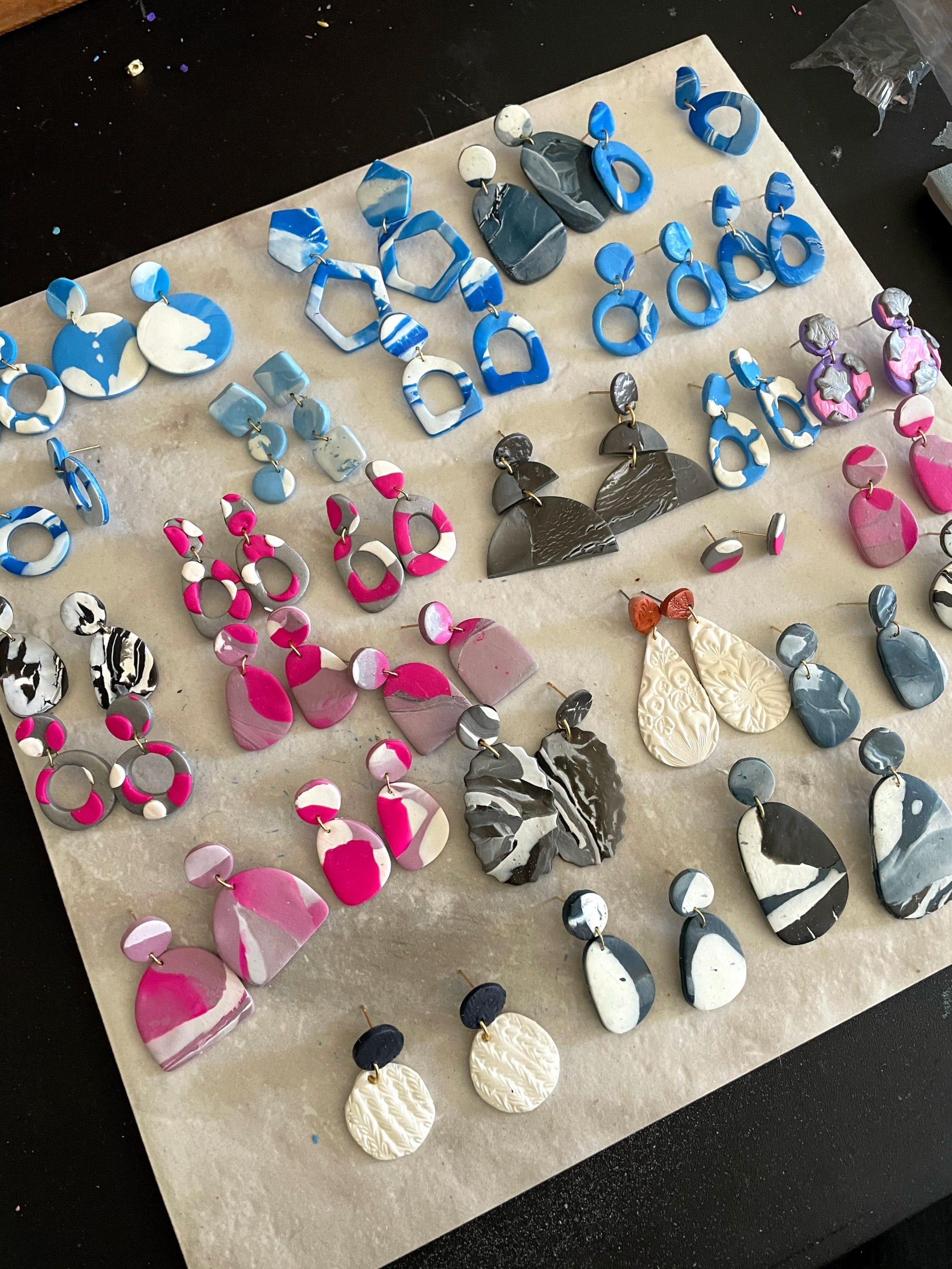 varying colors polymer clay earrings that are making life fun